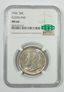 1936 CLEVELAND CENTENNIAL/GREAT LAKES EXPO COMM SILVER 50C CAC & NGC MS 66