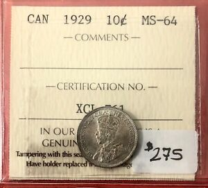 Click now to see the BUY IT NOW Price! 1929 CANADA 10 CENT SILVER COIN DIME   ICCS MS 64   PRETTY