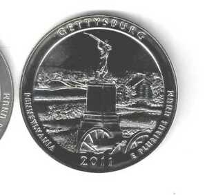 2011 GETTYSBURG 5 OZ SILVER AMERICA THE BEAUTIFUL QUARTER