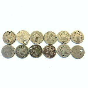 LOT OF 12 1866 1882 5C SHIELD NICKELS: HOLED