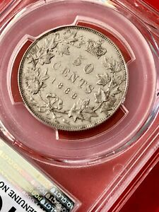 Click now to see the BUY IT NOW Price! 1888 CANADA SILVER HALF DOLLAR 50 CENT COIN   PCGS AU DETAIL   TREND 4K