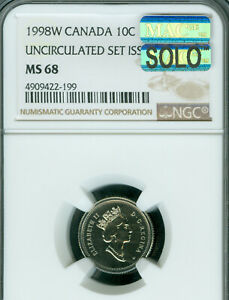1998 W CANADA 10 CENTS NGC MAC MS 68 PQ SOLO FINEST GRADE SPOTLESS  .