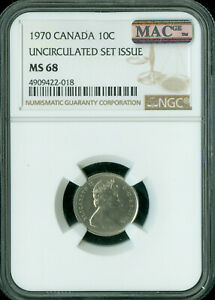 1970 CANADA 10 CENTS NGC MAC MS 68 PQ FINEST GRADE  MAC SPOTLESS .