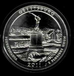 2011 GETTYSBURG 5OZ SILVER COIN   AMERICA THE BEAUTIFUL QUARTER