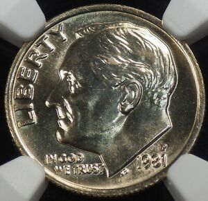 1981 P ROOSEVELT DIME NGC GRADED MS 65 FT