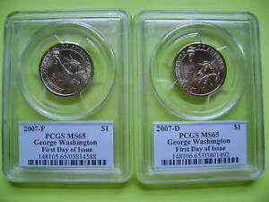 2007 P&D WASHINGTON PCGS MS65 FIRST DAY ISSUE BUSINESS STRIKE 2 COIN DOLLAR SET