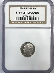 1996 S  SILVER ULTRA CAM ROOSEVELT DIME IN NGC PROOF 69
