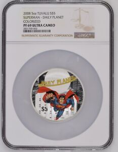 Click now to see the BUY IT NOW Price! 2008 TUVALU SILVER $5   SUPERMAN   DAILY PLANET   PF 69 UC   NGC COIN   POP 3