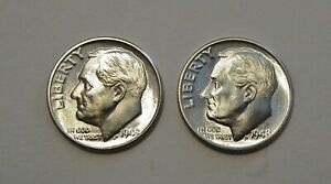 LOT OF  2  1948 D ROOSEVELT DIMES CHOICE BU LUSTER FROM OBW ROLLS
