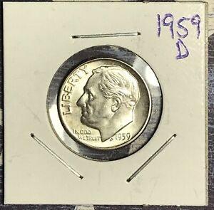 1959 D ROOSEVELT SILVER DIME. COLLECTOR COIN FOR YOUR SET OR COLLECTION.