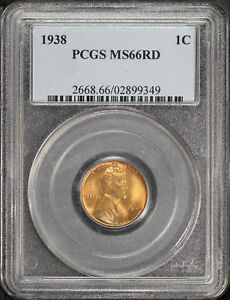 1938 LINCOLN WHEAT CENT PCGS MS 66 RD  170226