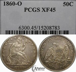 1860 O 50C SEATED LIBERTY SILVER HALF DOLLAR PCGS XF45  OLD TYPE COIN MONEY
