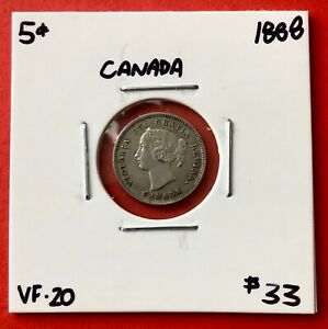 1888 CANADA SILVER FIVE 5 CENT COIN   $33 VF 20