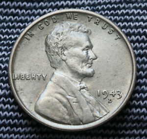 1943 D UNITED STATES LINCOLN STEEL WHEAT CENT VF  TO XF CONDITION
