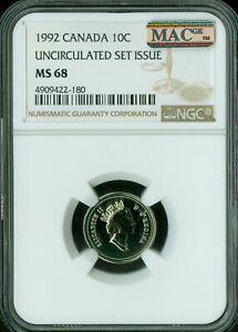 1992 CANADA 10 CENTS NGC MAC MS 68 PQ SOLO FINEST GRADE SPOTLESS  .