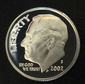2002 S ROOSEVELT DIME SILVER DCAM PROOF U.S. COIN A4007