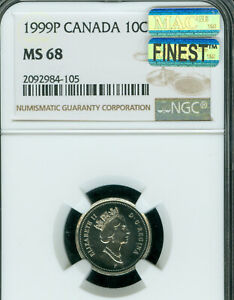 1999 P CANADA TEST 10 CENTS NGC MAC MS 68 PQ FINEST GRADE  SPOTLESS .