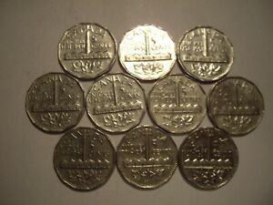 CANADA GEORGE VI 1951 COMM FIVE CENTS   LOT OF 10 COINS