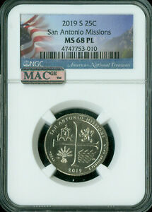 Click now to see the BUY IT NOW Price! 2019 S SAN ANTONIO QUARTER NGC MAC MS68 PL PQ SOLO FINEST 10 X R THAN W