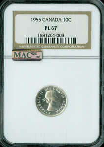 1955 CANADA 10 CENTS NGC PL 67 ONLY 1 FINER MAC SPOTLESS .