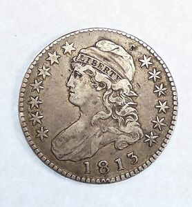 BARGAIN 1813 CAPPED BUST/LETTERED EDGE HALF DOLLAR XF SILVER 50 CENTS
