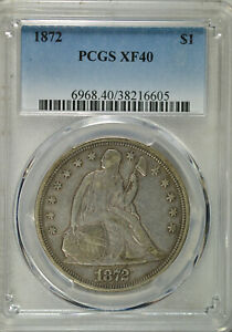 1872 SEATED DOLLAR PCGS XF40
