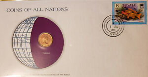 COINS OF ALL NATIONS   TUVALU   FRANKLIN MINT FIRST DAY COVER