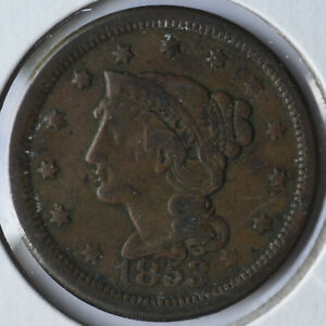 1853 1C BRAIDED HAIR LARGE CENT EARLY COPPER CIRCULATED FINE