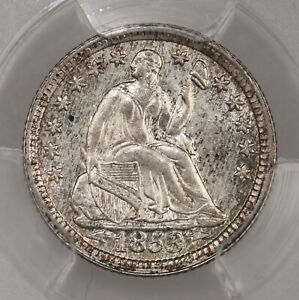 1853 SEATED H10C PCGS CERTIFIED MS63 W/ ARROWS