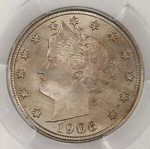 1906 LIBERTY HEAD 5C PCGS CAC CERTIFIED MS65