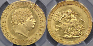 GREAT BRITAIN 1820 SOVEREIGN WITH SMALL DATE   PCGS MS62