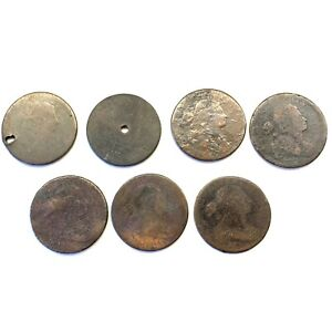 LOT OF 7 1796 1807 1C DRAPED BUST LARGE CENTS