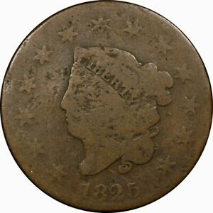 1825 1C CORONET HEAD LARGE CENT G  OLD TYPE COIN MONEY PENNY