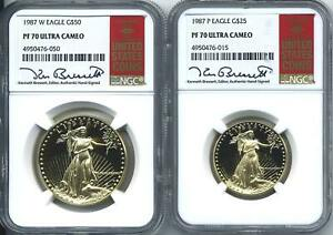 Click now to see the BUY IT NOW Price! 1987 W P $50 $25 PROOF GOLD AMERICAN EAGLE NGC PF 70 UCAM  2 COIN SET RED BOOK
