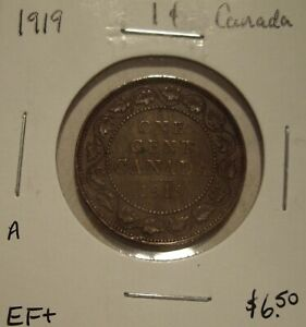 A CANADA GEORGE V 1919 LARGE CENT   EF