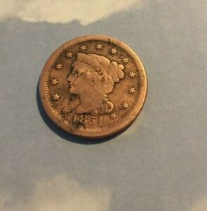 1851 LARGE BRAIDED HAIR  LARGE CENT