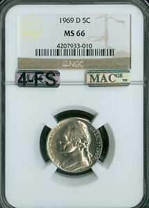 Click now to see the BUY IT NOW Price! 1969 D JEFFERSON NICKEL NGC MAC MS66 4FS SOLO FINEST SPOTLESS LIST $35 000 IN FS