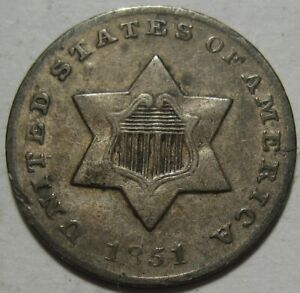1851 O XF THREE CENT PIECE NEW ORLEANS