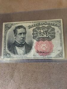 1874 UNITED STATES 10 CENTS FRACTIONAL CURRENCY 5TH ISSUE BANKNOTE   RED SEAL