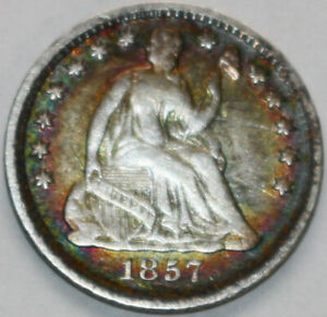 1857 P SEATED LIBERTY HALF DIME SCRATCHED REVERSE [SN01]