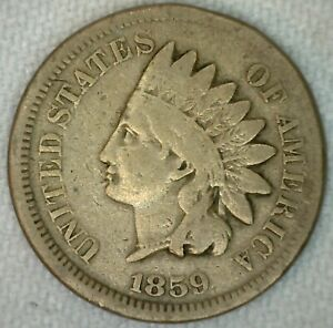 1859 US INDIAN HEAD ONE CENT PENNY COPPER NICKEL GOOD KJ15