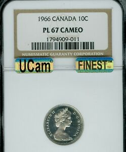 Click now to see the BUY IT NOW Price! 1966 CANADA 10 CENTS NGC PL 67 ULTRA CAMEO 2ND FINEST GRADE SPOTLESS