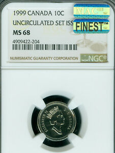 Click now to see the BUY IT NOW Price! 1999 CANADA 10 CENTS NGC MS 68 PQ MAC FINEST GRADE SPOTLESS .