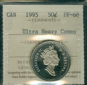 1995 CANADA  50 CENTS ICCS 68 SOLO ULTRA HEAVY CAMEO PROOF FINEST GRADED  .