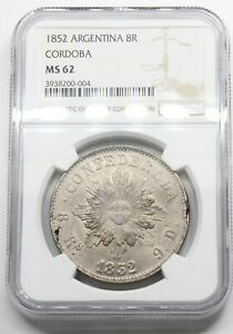 Click now to see the BUY IT NOW Price! NGC MS62 ARGENTINA  CORDOBA 8 REALES 1852 MONEDA PLATA MUY RARA SC