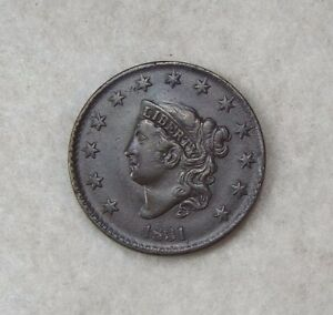1831 CORONET HEAD LARGE CENT WITH SMALL LETTERS AU 1C NEWCOMB 2   OBVERSE CUD