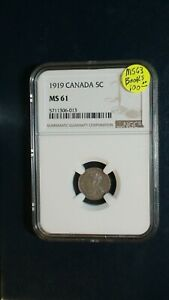 1919 CANADA FIVE CENTS NGC MS61 SILVER 5C COIN PRICED TO SELL NOW