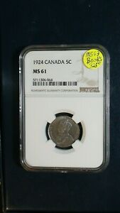 1924 CANADA FIVE CENTS NGC MS61 5C COIN PRICED TO SELL NOW