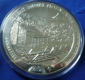 SCRUFFY 2014 GREAT SMOKY MOUNTAINS 5 OZ .999 SILVER AMERICA THE BEAUTIFUL COIN