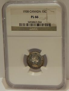 1958   CANADA   10 CENTS   NGC   PL66